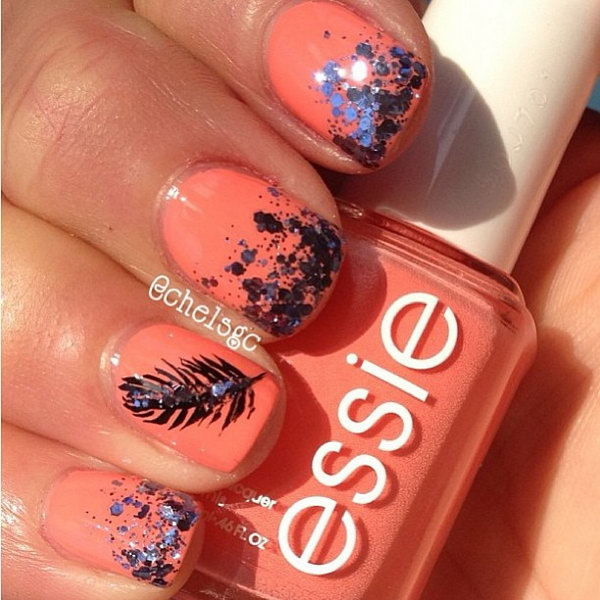 Glitter Gradient Feather Nails. Very pretty! I have to say, I am really into this feather design.