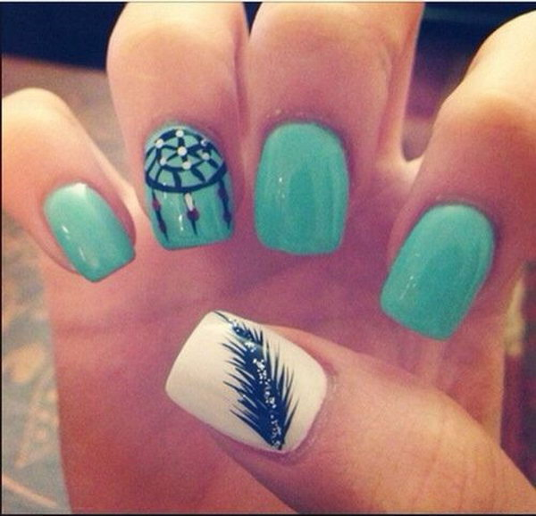Dreamchatcher and Feather Nails. Very pretty! I have to say, I am really into this feather design.