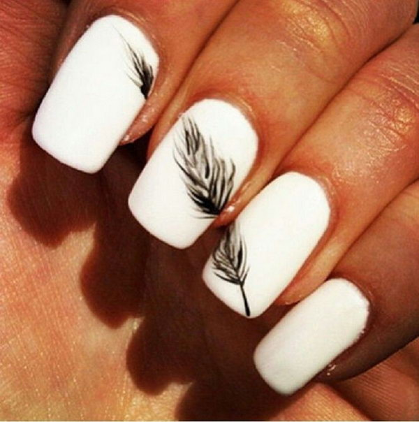 White Nail Designs with Feather. Very pretty! I have to say, I am really into this feather design.