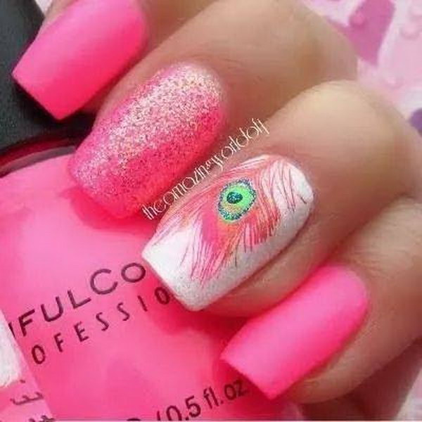 Pink Peacock Feather Nail Design. Very pretty! I have to say, I am really into this feather design.
