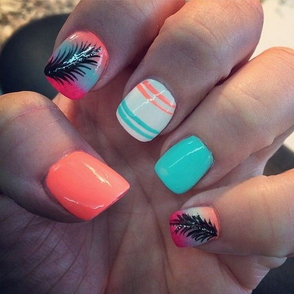 Neon Nail Design with Feather. Very pretty! I have to say, I am really into this feather design.