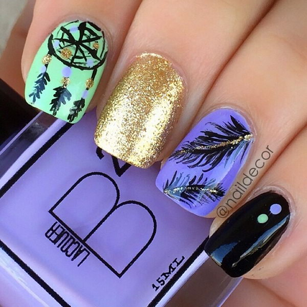 Dreamcatcher and Feather Nail Art. Very pretty! I have to say, I am really into this feather design.