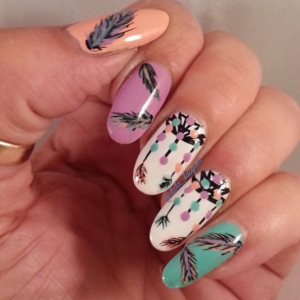 Dreamcatcher and Feather Nails. Very pretty! I have to say, I am really into this feather design.