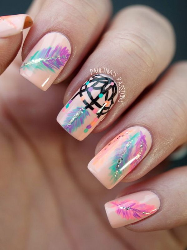 Beige Nail Design with Dreamcatcher and Feather Accents - 40+ Pretty Feather Nail Art Designs And Tutorials