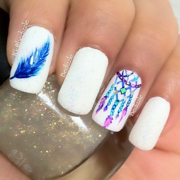 White Nail Design with Dreamcather and Feather - 40+ Pretty Feather Nail Art Designs And Tutorials
