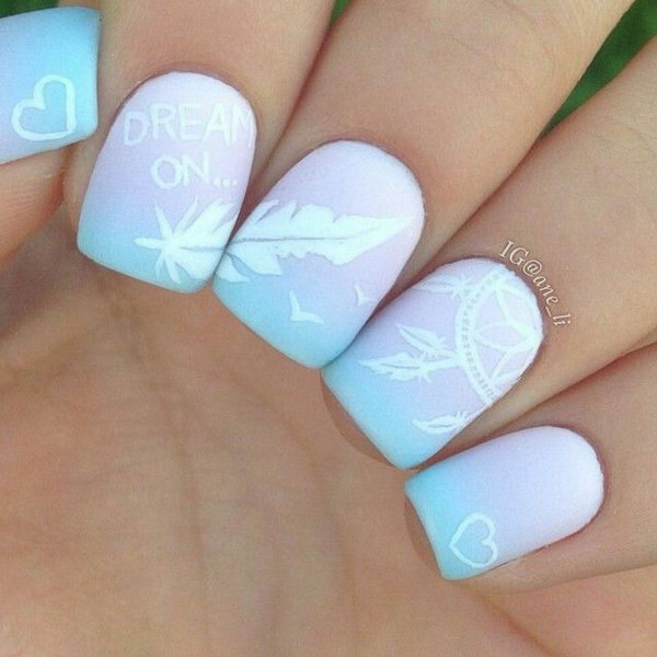 Pink and Blue Dreamcatcher and Feather Nail Art. Very pretty! I have to say, I am really into this feather design.