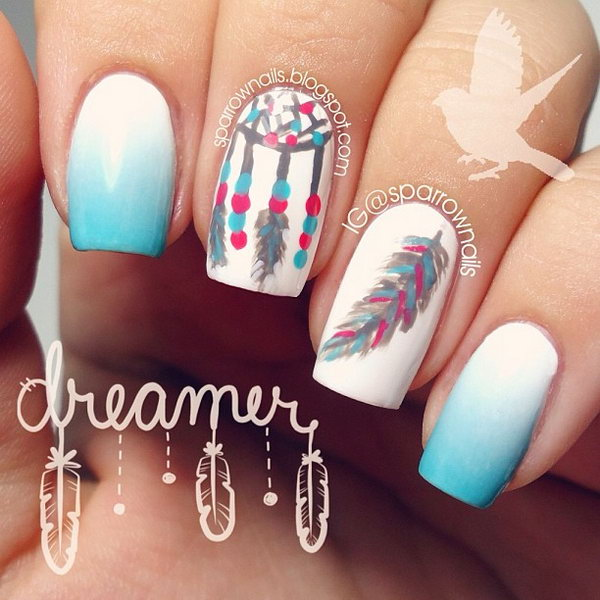 Mint Green and White Nail Design with Dreamcatcher and Feather. Very pretty! I have to say, I am really into this feather design.