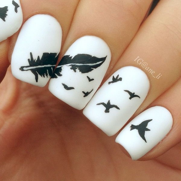 Bird and Feather Nails. Very pretty! I have to say, I am really into this feather design.
