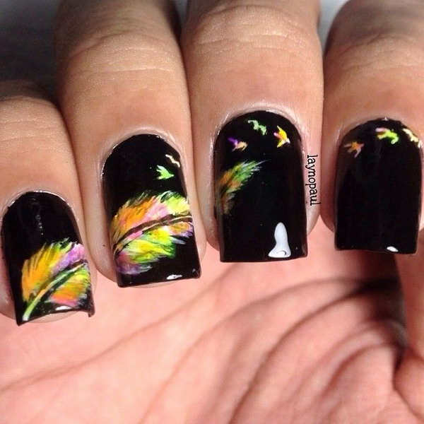 Neon Multicolor Feather Nail Art. Very pretty! I have to say, I am really into this feather design.