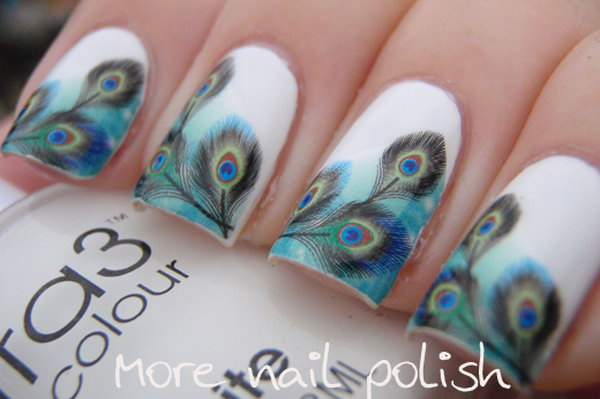 Peacock Feather Water Decal Nail Art. Very pretty! I have to say, I am really into this feather design.