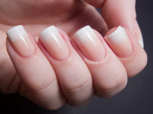 Ombre French Manicure. Paint nails a peachy nude and gradually fade to creamy white tips. See more details