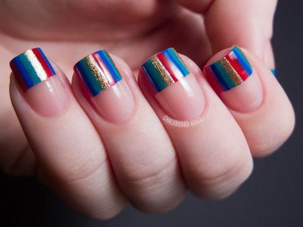 Colorful Stripes French Tipped Nails. Get the directions