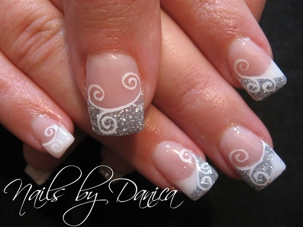 Glitter and White French Manicure.