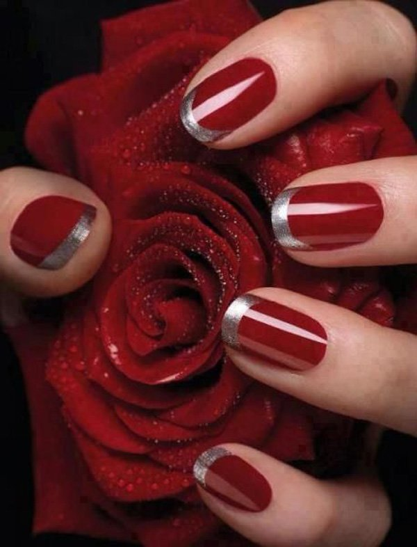 Bloody Red and Silver French Nail with Glitters.