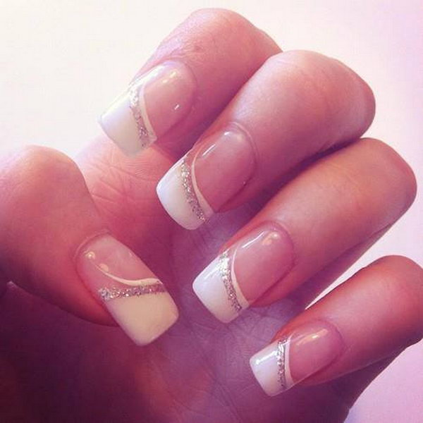 White And Glitter French Nail For Wedding