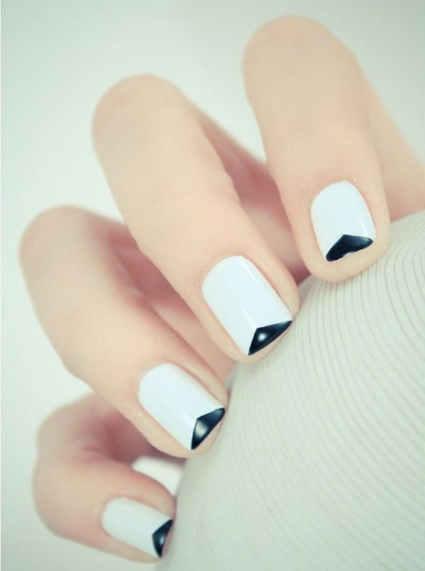 Reverse v shape French Tip Manicure.