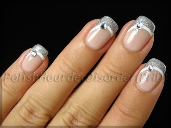 Silver Swoop French Manicure with Rhinestones.