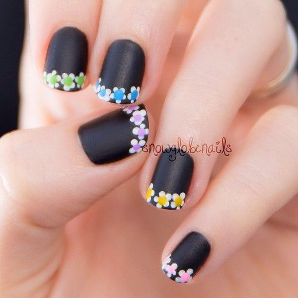 Spring Flowers Tipped French Manicure.