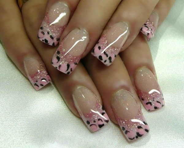 Pink Cheetah Tips French Manicure.
