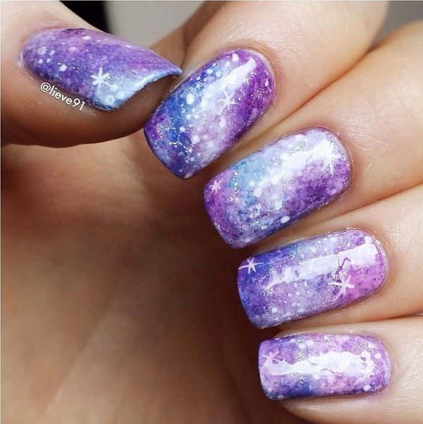 50 gorgeous galaxy nail art designs and tutorials pastel galaxy nail design solutioingenieria Images