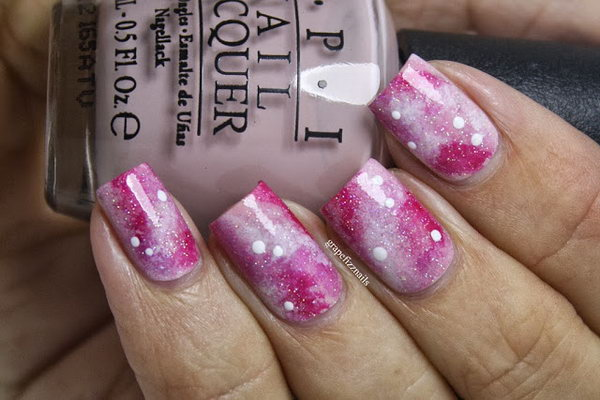 Pink Galaxy Nails. See more details