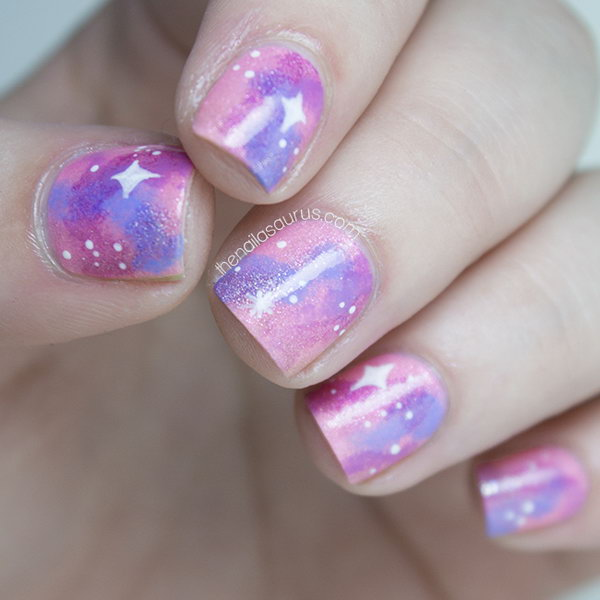Pink Galaxy Nail Art. See the tutorial