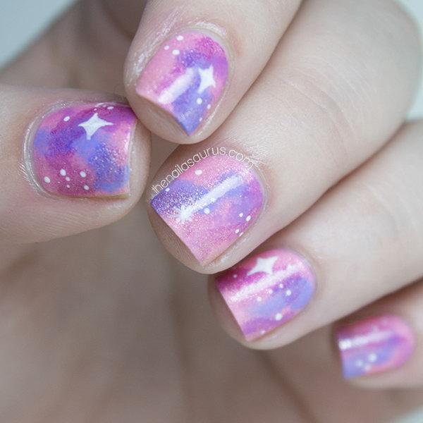 Pink Galaxy Nail Art. See the tutorial