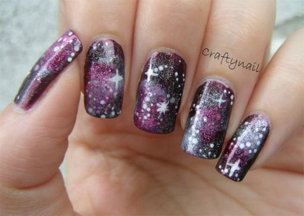 Purple Galaxy Nails.