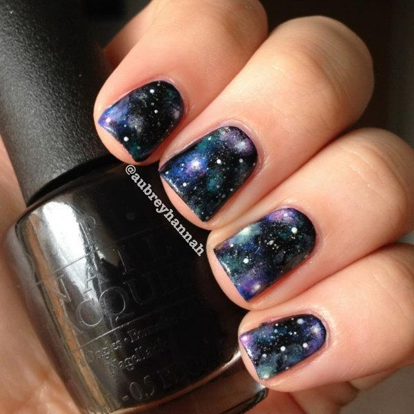 DIY Galaxy Nails. Get the tutorial