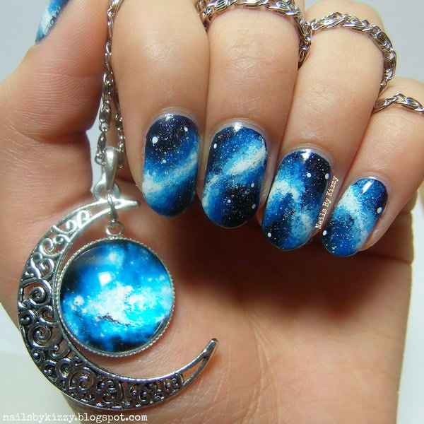 Galaxy Nails Inspired By Gorgeous Necklace.