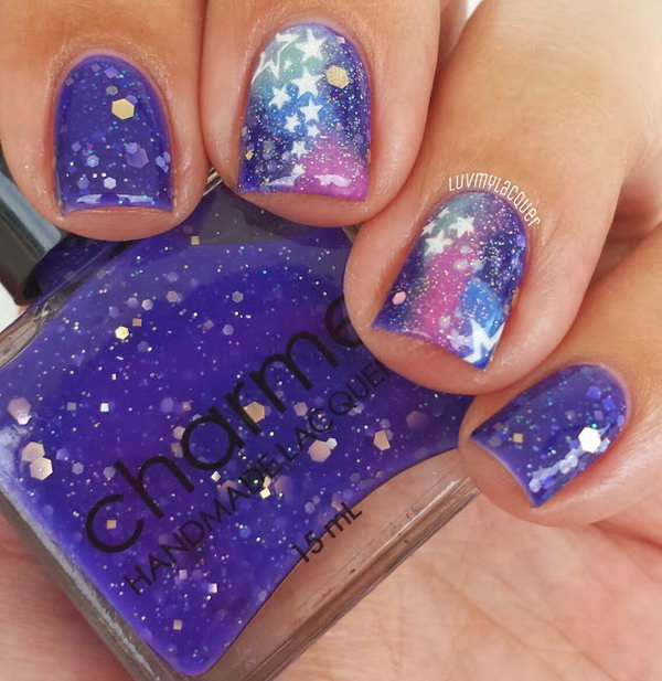 Galaxy Nails with Stars. See the steps
