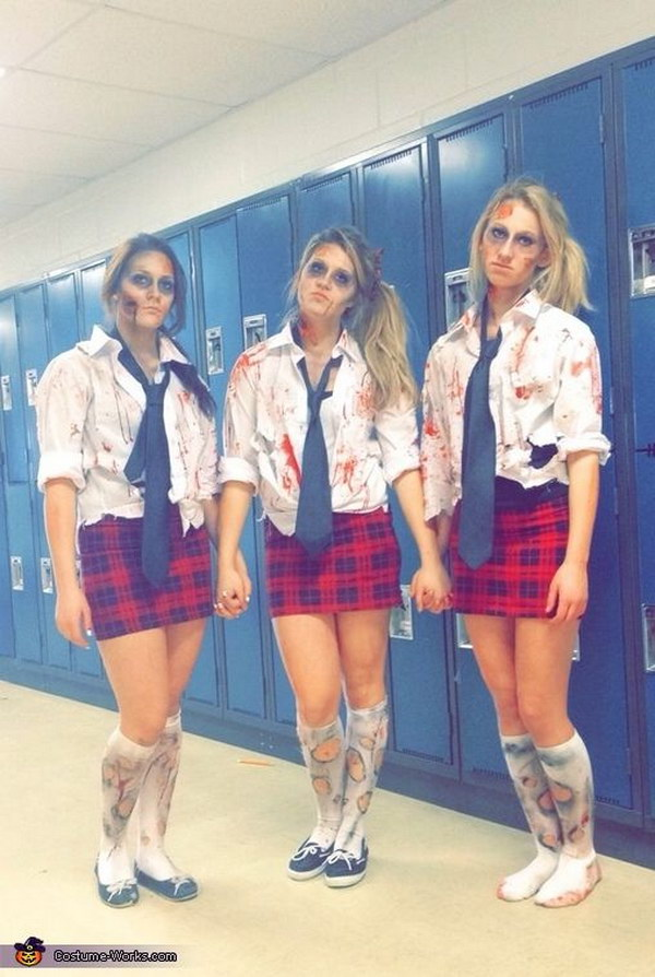 zombie school girls halloween costume - 4 Girls Halloween Costumes