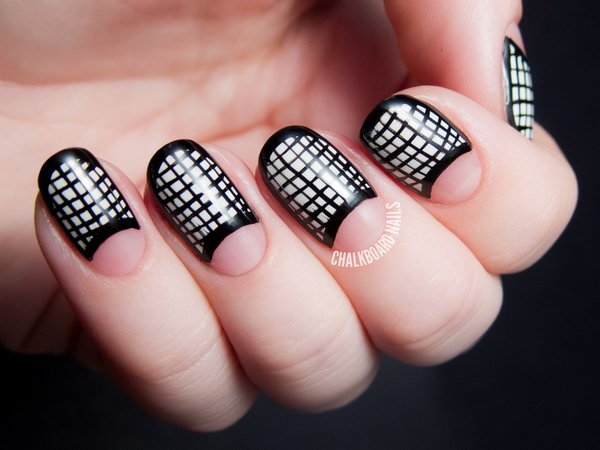 Black and White Mesh Framed Half Moon Nails. See the directions