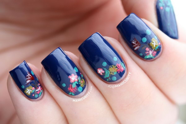 Flowery Half Moon Nails. See more details