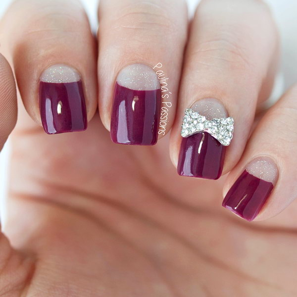 Elegant Half Moon Nails Accented with a Bow. See more details