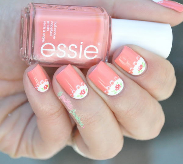 Romantic Roses Half Moon Nail Art - 60+ Stunning Half Moon Nail Art Designs & Tutorials