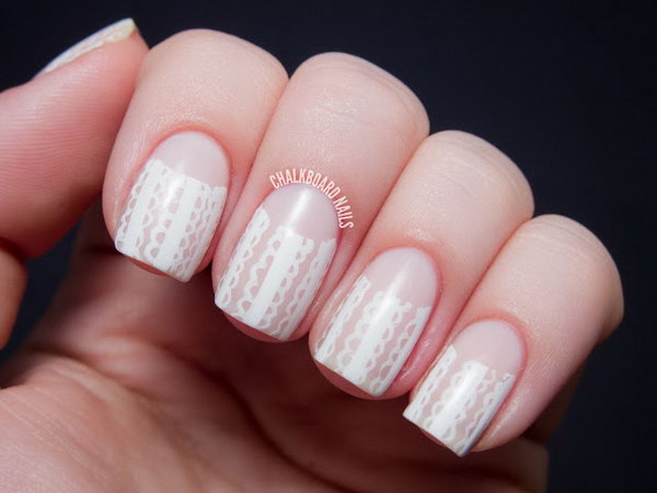 Lace Half Moon Manicure Designs.