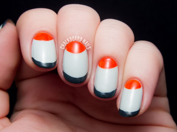Mod Half Moon and French Tip Manicure Design. Get the tutorial