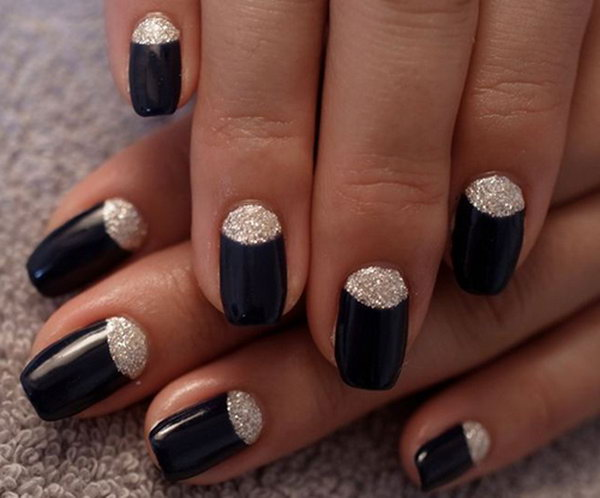 Black and Glitter Half Moon Nails.