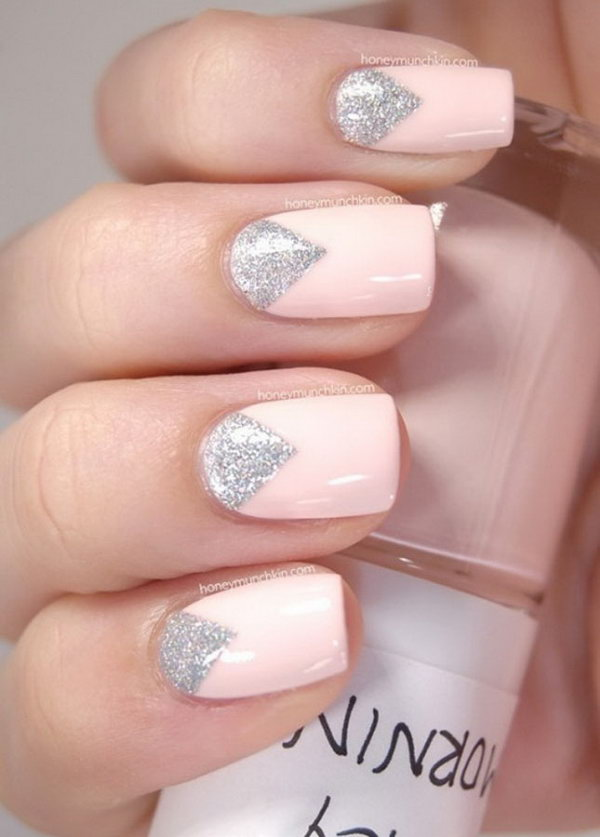 Glittery Triangle Half Moon Manicure.