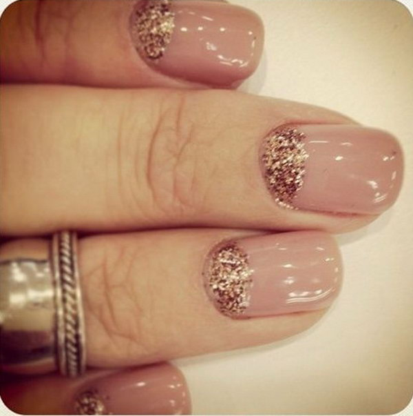 Nude with Glitter Half Moon Nails.