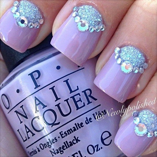 Silver Glitter Bear Accented Half Moon Nails.