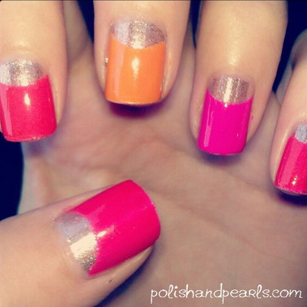 Pink, Orange and Glittery Gold Half Moon Nail Design.