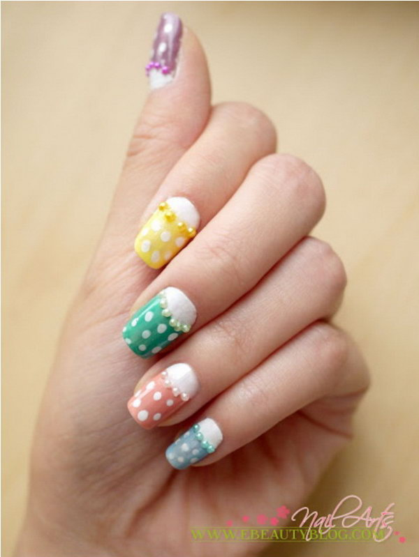 Colorful Polka Dots and Pearl Half Moon Nail Design.