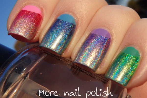 Rainbow Glitter Half Moon Nails. See more directions