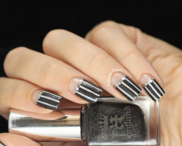 Pinstripe Half Moon Nails. See more