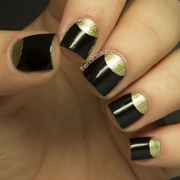 Gold Half Moon Short Nails.