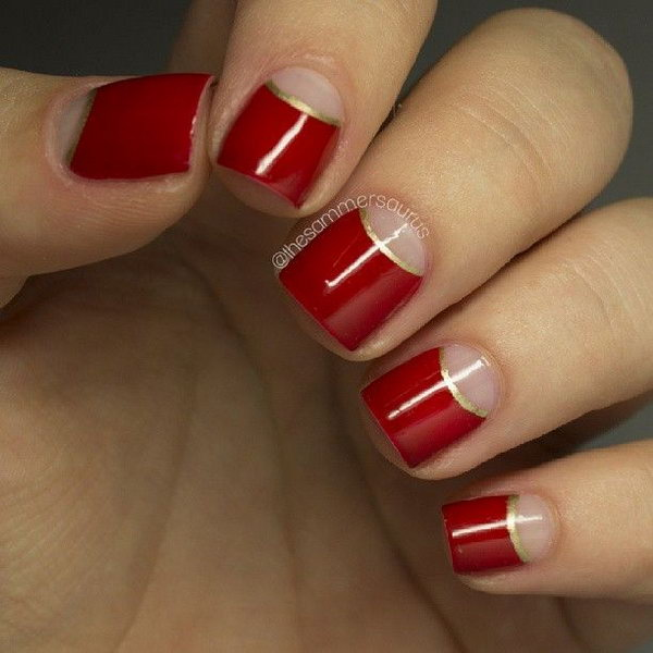 Red Half Moon Nails with a Bit of Gold.