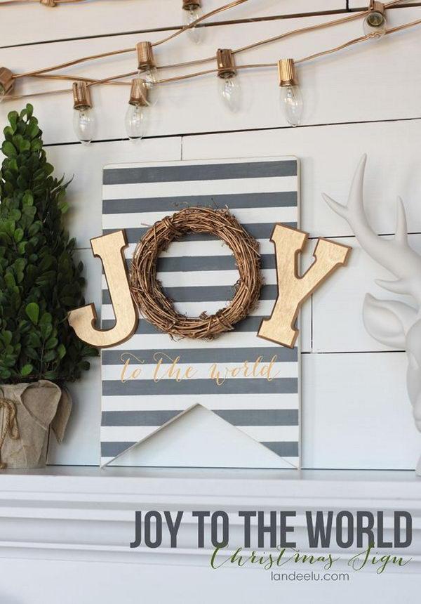 Striped Banner JOY Sign.