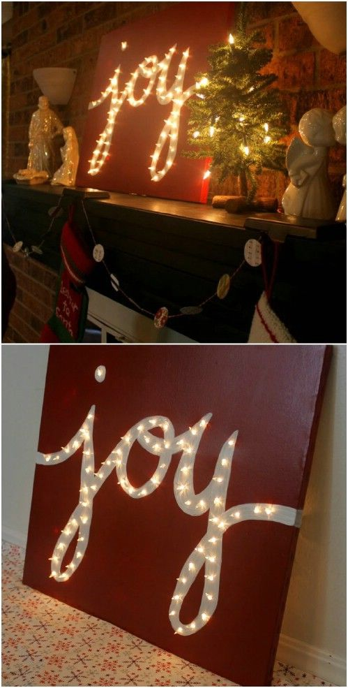 Holiday 'JOY' Light Marquis Canvas.